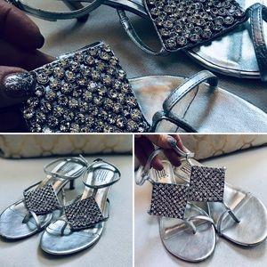 Pelle Moda Toe Sandals Heels Leather Silver 8.5M